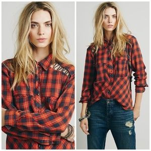 Free People Gauzy Plaid Lace Up Button Down Top XS